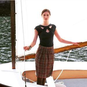 Odille Tweed Multicolor Plaid Mini Skirt